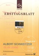West-Duitsland - Ersttagsblatt - 4/2000 - 125.Geburtstag Von Dr. Albert Schweitzer - Michel 2090 - Albert Schweitzer