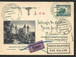 "1935  ILLUSTRATED  REGISTERED  STATIONARY  CARD "" INTERNATIONAL  BALLOON  RACE  "" - Poland"