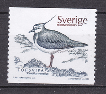 BIRD Lapwing VANELLUS VANELLUS - SWEDEN SUEDE SCHWEDEN 2001 MI 2228 MNH Vanneau Kiebitz Avefría Czajka - Ostriches
