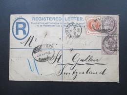 GB 1888 Registered Letter London Fore Street - St. Gallen Schweiz. Über Zürich. - Briefe U. Dokumente