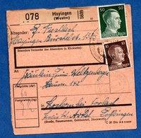 Colis Postal  --  Départ Hayingen ( Hayange ) Pour Cocheren  -  13/3/1943 - Allemagne