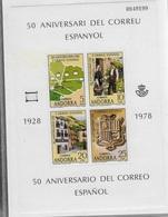 Bloc Feuillet 50° Anniversaire Del Correu Espanol  1928- 1078 Numéroté - Blocks & Sheetlets & Panes