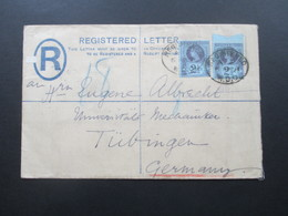 GB 1891 Registered Letter Nr. 89 MeF Oberrand!! Western District Office Nach Tübingen. 5 Stempel - Briefe U. Dokumente