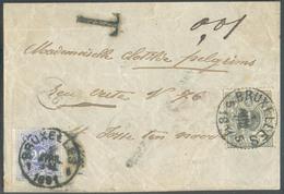 N°43 Obl. Sc BRUXELLES 1 Sur Devant De Bande D'imprimé Du 1 Avril 1885 (7-M) Vers Saint-Josse-ten-Noode Et Taxée à 20 Ce - Briefe U. Dokumente