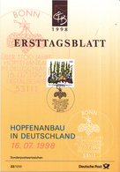West-Duitsland - Ersttagsblatt - 22/1998 - Über 1100 Jahre Hopfenanbau In Deutschland - Michel 1999 - [7] West-Duitsland