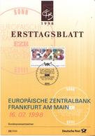 West-Duitsland - Ersttagsblatt - 23/1998 - Gründung Der Europäischen Zentralbank In Frankfurt Am Main - Michel 2000 - [7] West-Duitsland