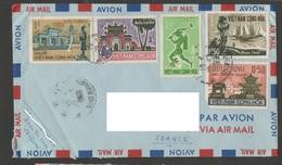 Vietnam 1964 - 1965 N°YT 250 à 253 MI 247 à 250 / Temple Paysages Hué Saïgon / Enveloppe Voyagée Vers La France - Vietnam