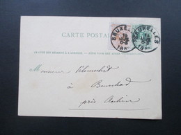 Belgien 1882 Ganzsache Mit Zusatzfrankatur - 1869-1888 Lion Couché (Liegender Löwe)