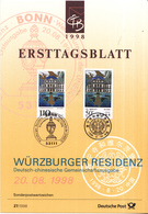 West-Duitsland - Ersttagsblatt - 27/1998 - UNESCO-Welterbe (VII): Würzbuger Residenz Und Puning-Tempel - Michel 2007 - Gezamelijke Uitgaven