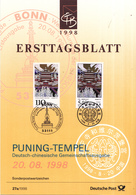 West-Duitsland - Ersttagsblatt - 27a/1998 - UNESCO-Welterbe (VII): Würzbuger Residenz Und Puning-Tempel - Michel 2008 - Gezamelijke Uitgaven