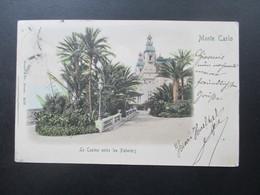 AK 1901 Monte Carlo Le Casino Entre Les Palmiers. Hotel Suisse Nice. Französische Marke! Nach Strassburg Elsass - Monte-Carlo