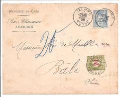 Daguin Auxerre>Suisse Bale 25.8.98/Sage+Timbre Taxe Suisse 20 Rp - Marcophilie (Lettres)