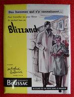 """RARE Carton Publicité Blizzand Tissu Boussac  """"Bouquinistes Paris"""" Illustré Pierre Couronne 29.5x40 Cms Vintage - Advertising"""