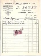 72 - SARTHE - VIBRAYE - FACTURE/LETTRE - 1937 - ELECTRICITE/FORCE/LUMIERE/ J. BOUJU - 1900 – 1949