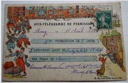 62 . AUCHY LES HESDIN   :   AVIS TELEGRAMME DE PERMISSION          ******  VOIR DETAILS  ****** - France