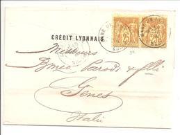 Crédit Lyonnais.Pair Sage 25c.Gare De Lyon>Italie 1881.Sans Correspondance - 1877-1920: Semi Modern Period