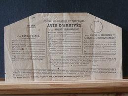 77/549  AVIS D'ARRIVEE D'UN MANDAT TELEGRAPHIQUE  XX - Marcofilie (Brieven)