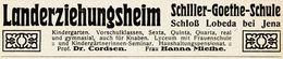 Original-Werbung/ Anzeige 1921 - SCHILLER-GOETHE-SCHULE / SCHLOSS LOBEDA BEI JENA / CORDSEN/MIETHE -  Ca. 110 X 25 Mm - Publicités