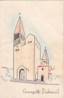 """Menu Illustré """"Home Made"""" 110 X 165 Mm - Communion De Georgette Dubreuil à Tournuus (71) 14 Août 1957 (Abbaye) - Menus"""