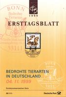 West-Duitsland - Ersttagsblatt - 39/1999 - Bedrohte Tieren (I): Groβe Hufeisennase - Michel 2086 - [7] West-Duitsland