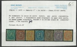ITALIA REGNO 1879 EFFIGIE RE UMBERTO I KING EFFIGY SERIE COMPLETA COMPLETE SET MLH BEN CENTRATA CERTIFICATO - Mint/hinged