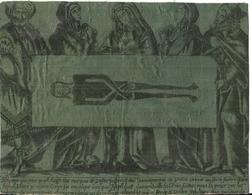 GRAVURE SUR TISSU CONTRE COLLE .PERSONNAGES TENANT LE SAINT SUAIRE - Religion & Esotérisme