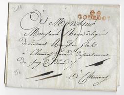 LOT - 1816/1824 - LETTRE LSC De GOURDON Avec MARQUE ROUGE => CLERMONT-FERRAND - 1801-1848: Précurseurs XIX