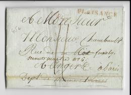 ITALIE - 1808 - DEBOURSE ROUGE De ANGERS Au DOS D'une LETTRE De PLAISANCE Avec MARQUE LINEAIRE FRANCAISE ROUGE - 1792-1815: Conquered Departments