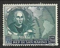 1952 San Marino Saint Marin CRISTOFORO COLOMBO 200L MNH** - Cristoforo Colombo