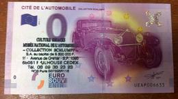 68 CITÉ DE L'AUTOMOBILE AVEC TAMPON BILLET ZERO EURO SOUVENIR 2016 BANKNOTE BANK NOTE EURO SCHEIN MONEY - EURO