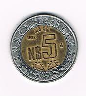 &  MEXICO  5 NEW  PESOS 1992 - Mexique