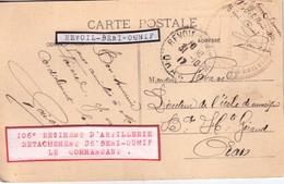 ALGERIE - REVOIL-BENI-OUNIF - 106° REGIMENT D'ARTILLERIE DETACHEMENT DE BENI-OUNIF - 31-10-1917 - GUERRE 14-18 - CARTE . - Postmark Collection (Covers)