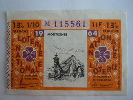 Belgie Belgique Loterie Nationale Loterij Montegne Mijn Mine 1964 13 E De Tranche - Billets De Loterie