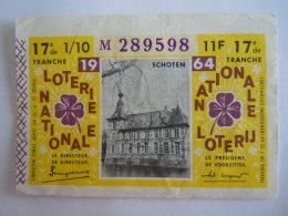 Belgie Belgique Loterie Nationale Loterij Schoten 1964 17 E De Tranche - Billets De Loterie