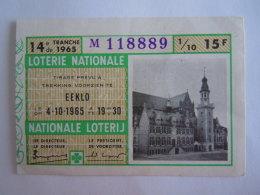 Belgie Belgique Loterie Nationale Loterij Eeklo 1965 14 E De Tranche - Billets De Loterie