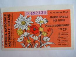 Belgie Belgique Loterie Nationale Loterij Tranche Speciale De Fleurs Speciale Bloementranche Andenne 1964 6 E De Tranche - Billets De Loterie