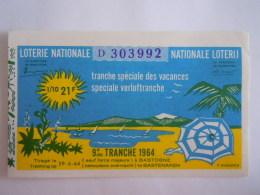 Belgie Belgique Loterie Nationale Loterij Tranche Speciale Des Vacances Verloftranche Bastogne 1964 9 E De Tranche - Billets De Loterie