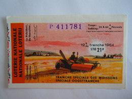Belgie Belgique Loterie Nationale Loterij Tranche Speciale Des Moissons Oogsttranche Péruwelz  1964 12 E De Tranche - Billets De Loterie