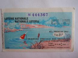 Belgie Belgique Loterie Nationale Loterij Tranche Speciale Des Vacances Speciale Verloftranche Visé 1965 8 E Ste Tranche - Billets De Loterie