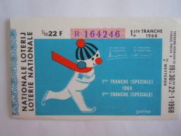 Belgie Belgique Loterie Nationale Loterij Wetteren 1 Ste Tranche (speciale) 1968 - Billets De Loterie