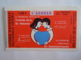 Belgie Belgique Loterie Nationale Loterij 2 De E Tranche (speciale) St-Valentin St-Valentijntranche Elsene 1968 - Billets De Loterie