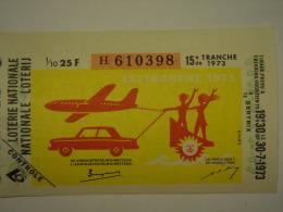 Belgie Belgique Loterie Nationale Loterij 15 De E Tranche Bertrix Auto Avion Vlieguig 1973 - Billets De Loterie