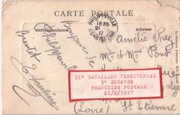 ALGERIE - PHILIPPEVILLE - CONSTANTINE - 11° BATAILLON TERRITORIAL 3° ZOUAVE - 21-2-1917 - CARTE COIN MANQUENT RENFORCE - Marcophilie (Lettres)
