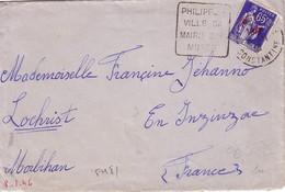 ALGERIE - PHILIPPEVILLE / SA MAIRIE / SON MUSEE - DAGUIN - TYPE PAIX -  SURCHARGE FM - LE 8-11-1938. - Poststempel (Briefe)