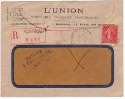 """SEMEUSE 1F05 Seul / Lettre Recommandée 1926 Retour à L'envoyeur """"griffe"""" Bordeaux (destinataire Décédé) - Marcofilie (Brieven)"""