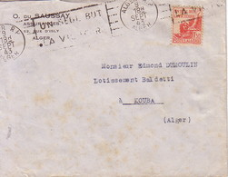 ALGERIE - ALGER RP - FLAMME - UN SEUL BUT / LA VICTOIRE - ENVELOPPE DU 9-9-1943. - Covers & Documents
