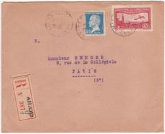 Lettre 2ème échelon Recommandée AMIENS 1933 Bel Affranchissement PASTEUR + Poste Aérienne Avion Survolant Marseille - Brieven En Documenten