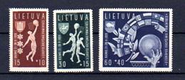 1939  Lituanie, Championnats  D'Europe De Basket-ball, 370 / 372**, Cote 32 €, - Basketball