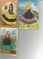 Lot 3 Cartes   .....FEMMES  PROVENCALES   EN JUPE TISSU - Costumes