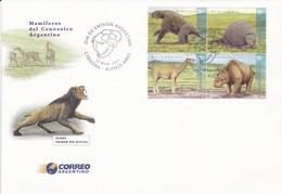 Argentina 2001 2 FDC + 1 Blokc Fossils Dinosaurs - Postzegels